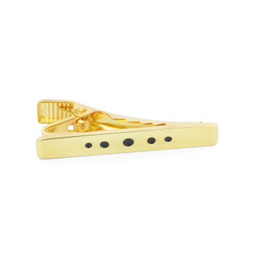 Gold 925s Black Dotted Tie Clip Northern Jewelry