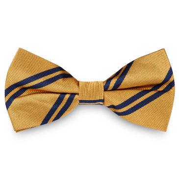 Navy Twin Stripe Gold Silk Bow Tie Trendhim