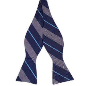 Orange & Pastel Blue Stripe Navy Silk Self Tie Bow Tie Trendhim