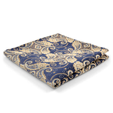 Navy & Orange Paisley Polyester Pocket Square Trendhim