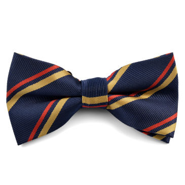 Blue and Gold Striped Bowtie Trendhim