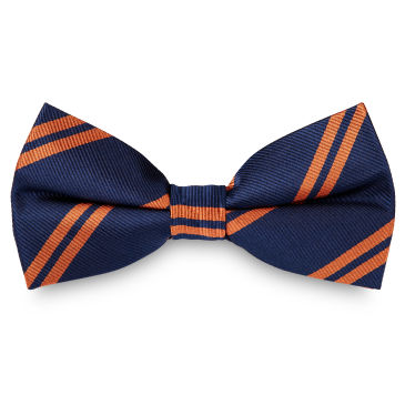 Orange Twin Stripe Navy Silk Self Tie Bow Tie Trendhim