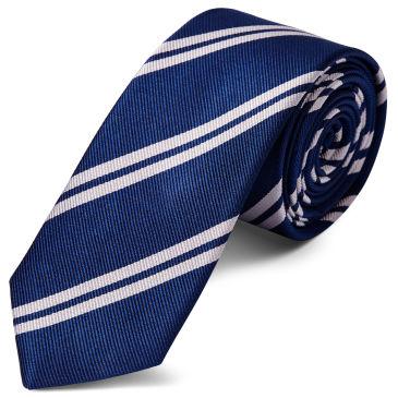 White Twin Stripe Red Silk 8cm Necktie Trendhim