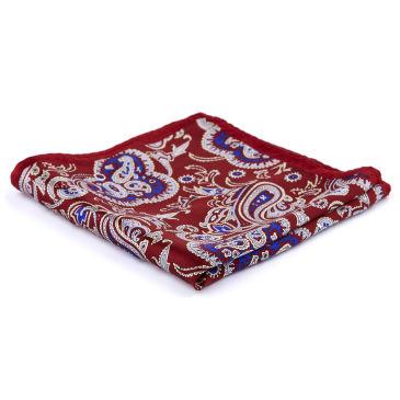Burgundy Geometric Silk Pocket Square Trendhim