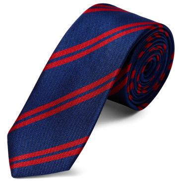 White Twin Stripe Navy Silk 8cm Necktie Trendhim