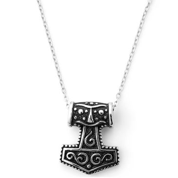 Thors Hammer & Skull Steel Necklace Trendhim
