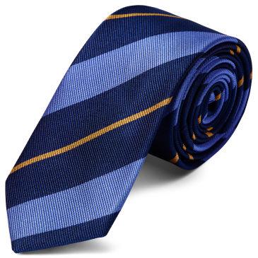 Pastel Blue & Red Stripe Navy Silk 6cm Necktie Trendhim