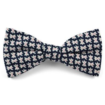 White & Blue Floral Design Cotton Self Tie Bow Tie Trendhim