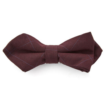 Navy Geometric Silk Pre-Tied Bow Tie Trendhim