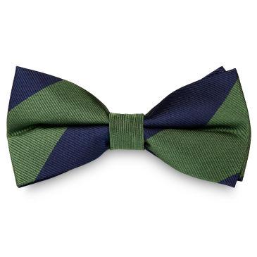 Green & Gold Stripe Navy Silk Self Tie Bow Tie Trendhim