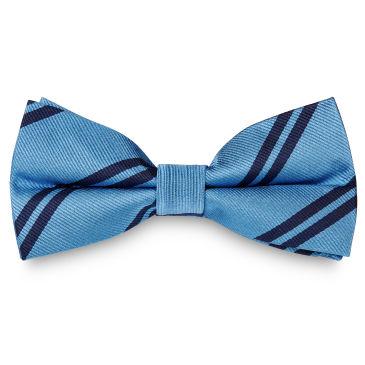 Blue & Navy Stripe Silk Bow Tie Trendhim
