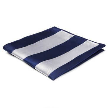 Blue & Navy Stripe Silk Pocket Square Trendhim