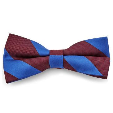 Dark Blue and Burgundy Striped Bowtie Trendhim