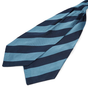Pastel Blue & Gold Stripe Navy Silk Cravat Trendhim