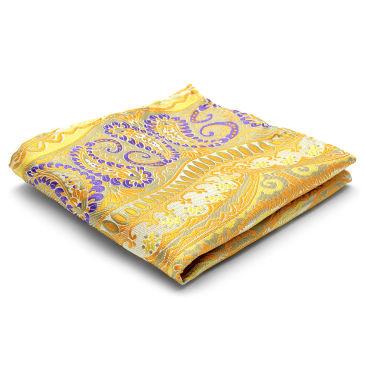Grey & Yellow Silk Pocket Square Trendhim