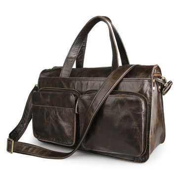 Faded Black Leather Holdall Delton Bags