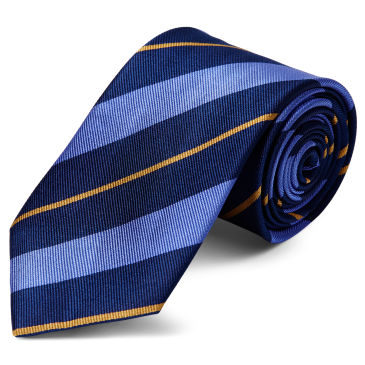 Orange & Pastel Blue Stripe Navy Silk 8cm Necktie Trendhim