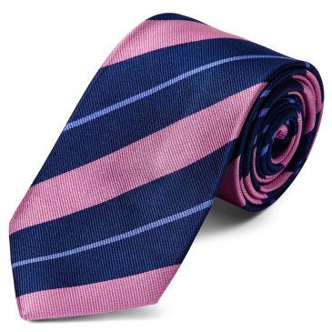 Pink & Pastel Blue Stripe Navy Silk 8cm Necktie Trendhim