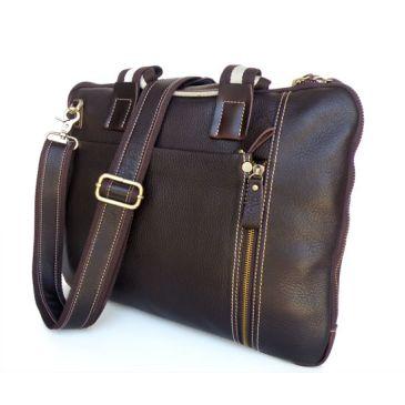 Dark Brown Student Leather Bag Delton Bags