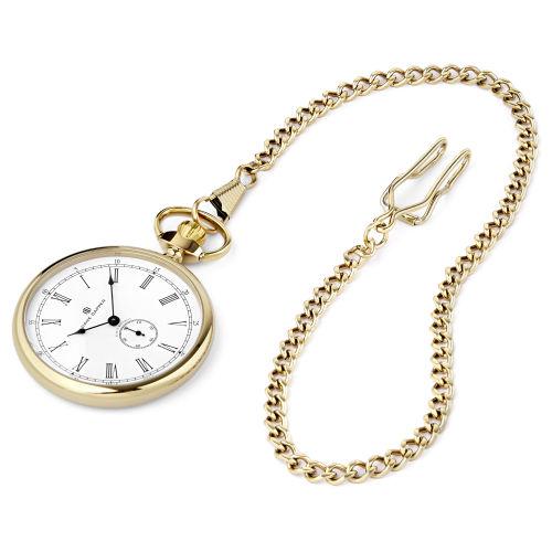 15c8367ff07 Kapesní hodinky ve zlatých tónech s bílým číselníkem Time Keeper
