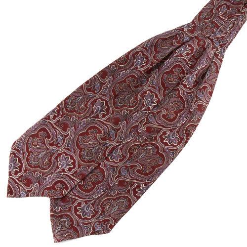 Červeno-levandulová hedvábná barokní kravatová šála Askot 0f7402f332