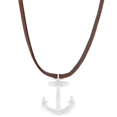 8ad31f81324 Collier en cuir marron à pendentif argenté en forme d ancre marine