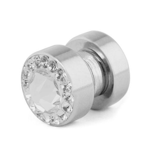 8 mm magnetická náušnica s priehľadným kryštálom 720c0159220