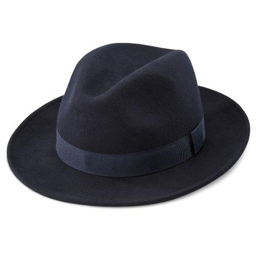 Cappello Fido Alessandria stile Fedora in lana blu ... f7c8dac3ab8f