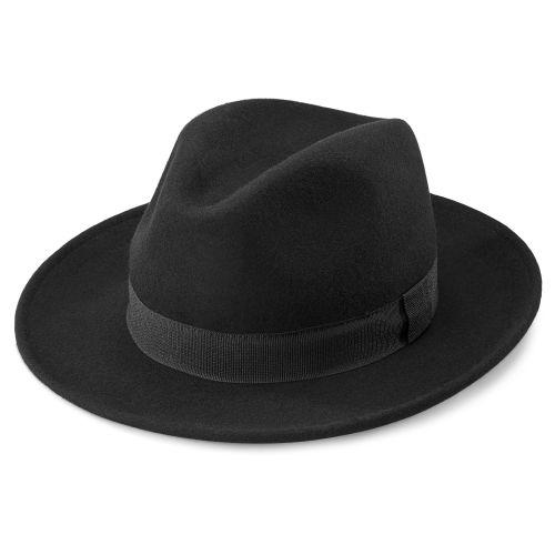 575c4035806a2 Alessandria Black Wool Fido Fedora
