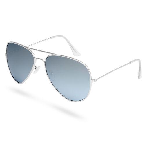 Ezüstszínű keretes pilóta napszemüveg tükrözött és polarizált lencsékkel d451a32e09