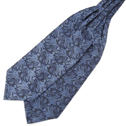 365915be090d Tailor TokiCravate Ascot à motif cachemire bleu marine   bleu clair