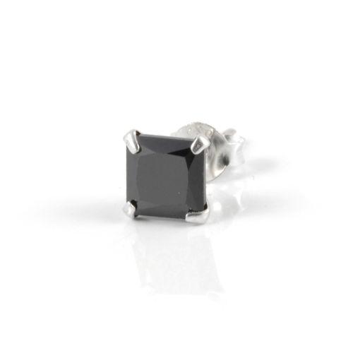 Čierna náušnica Zirkón 6 mm Square 4d55eaffb74