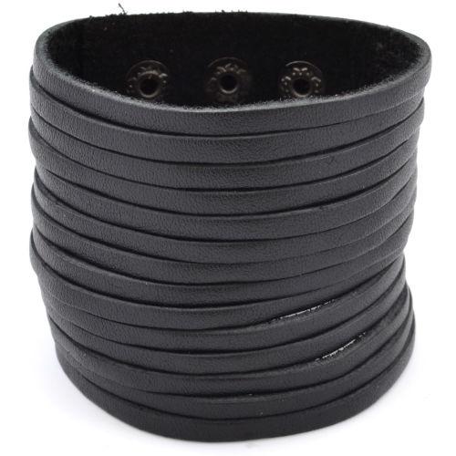 Μαύρο Φαρδύ Δερμάτινο Βραχιόλι f71dd76b08a