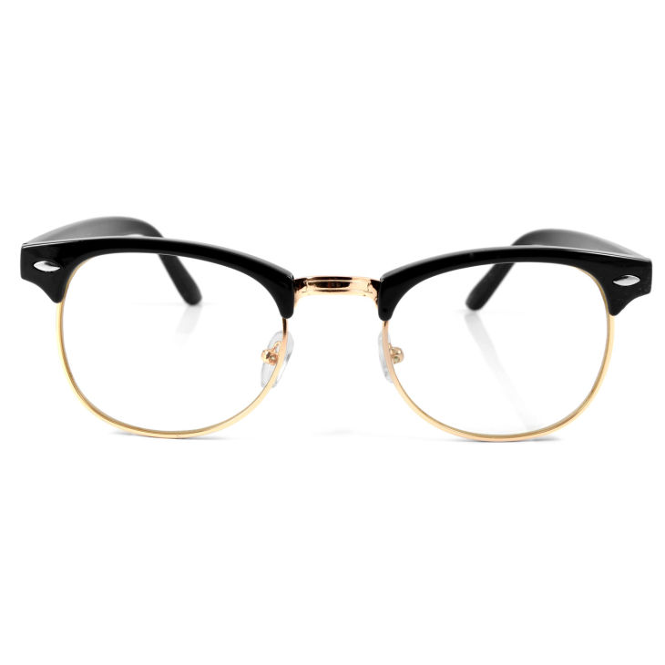 Fekete arany retró szemüveg tiszta lencsével  1745e2a910
