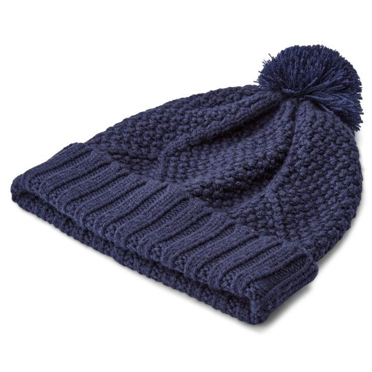 Bonnet à pompon bleu marine Karl Kane en laine mérinos   Port gratuit    Fawler 3ea7dfc87d8