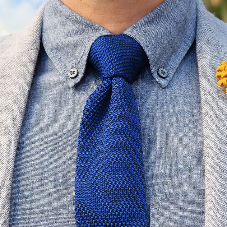 Royal Blue Knitted Tie Tailor Toki Free Shipping
