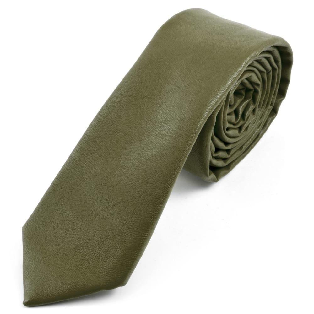 nouvelle arrivée prix pas cher acheter maintenant Cravate en simili-cuir vert militaire