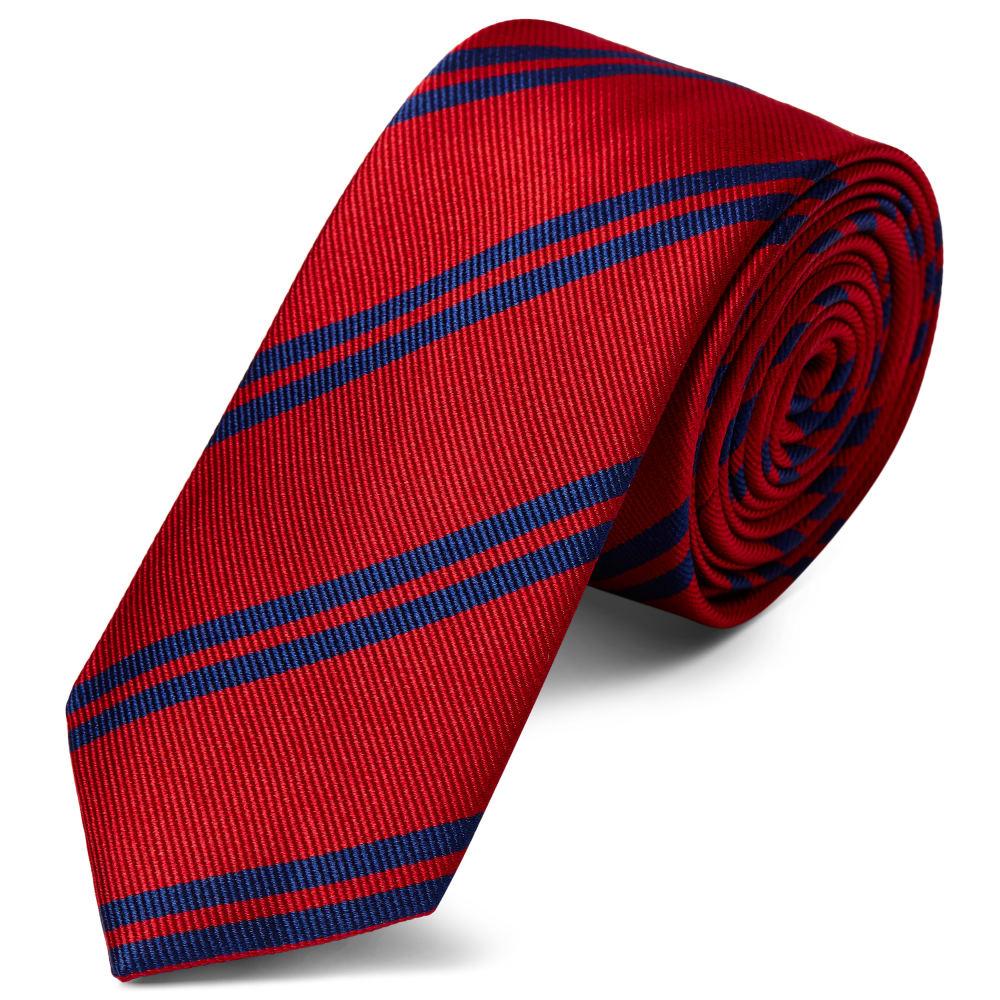 c683def596a9e Cravate en soie rouge écarlate à rayures bleu marine - 6 cm | Port ...