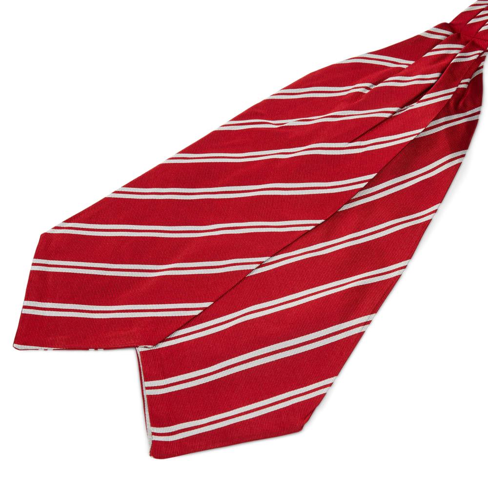 Cravatta Ascot In Seta Rossa Con Doppie Righe Bianche Spedizione