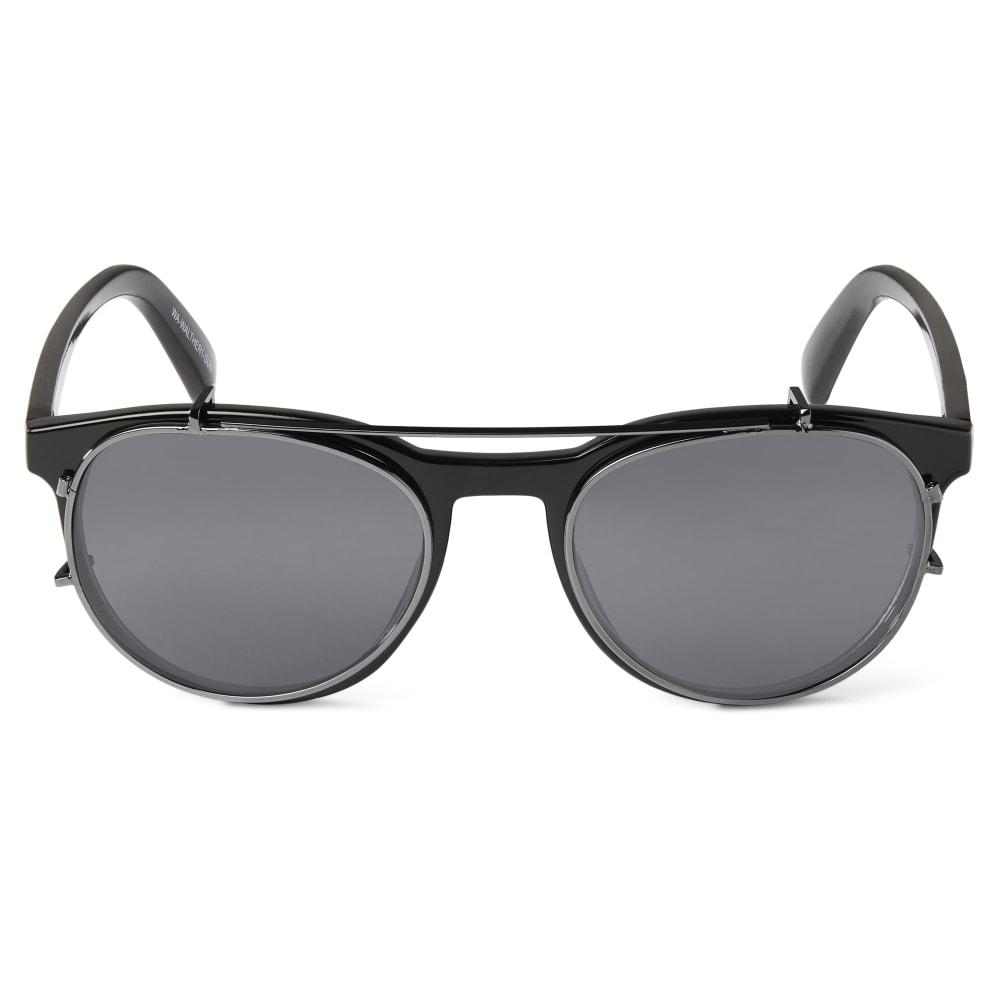 50f86a273d Lunettes Walther à monture noire, verres translucides et clips solaires    Port gratuit   Waykins