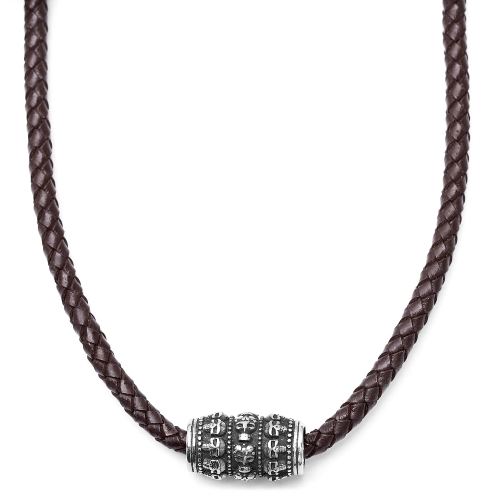 mejor servicio f2dde 6fcee Collar de cuero marrón con motivo de calaveras