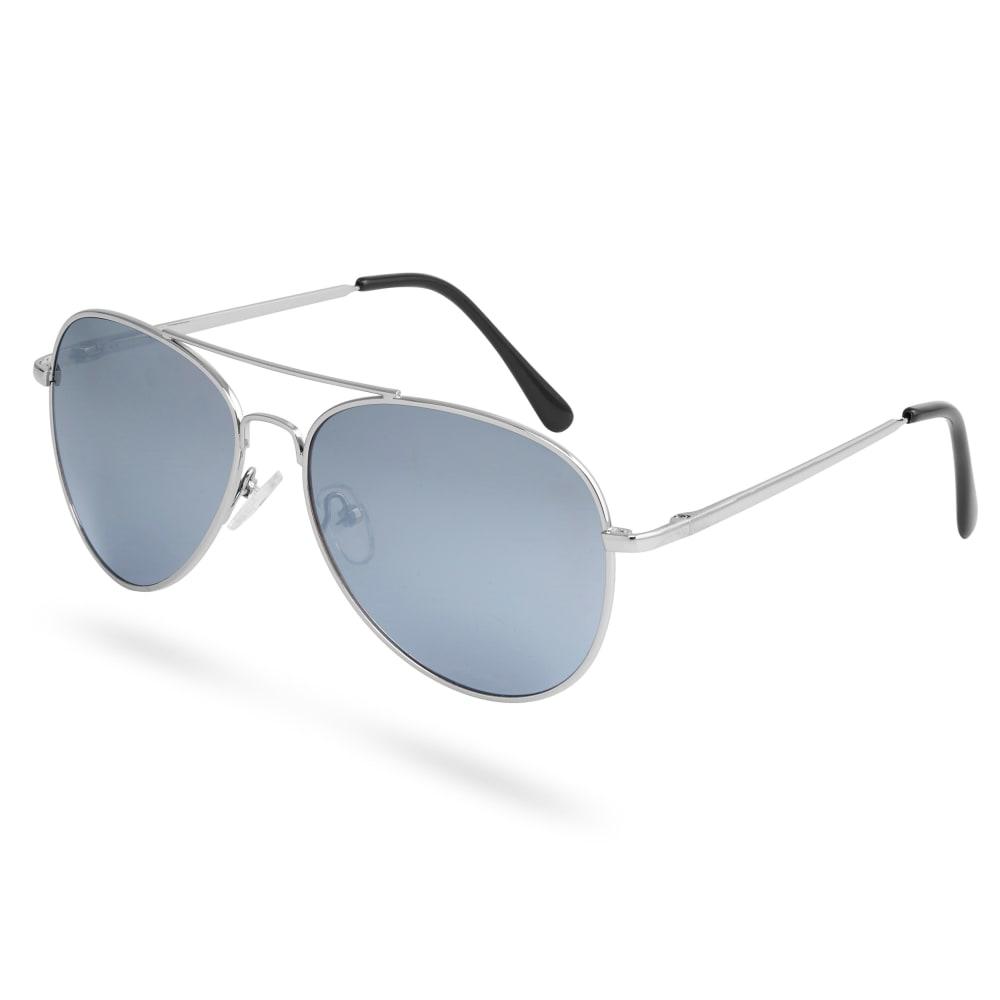 Ezüstszínű keretes pilóta napszemüveg tükrözött lencsékkel