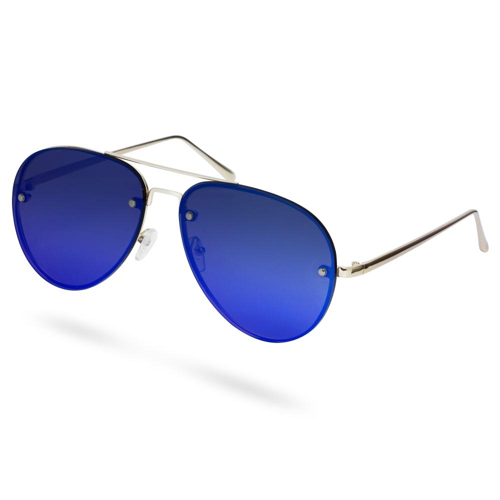 Occhiali Da Sole Aviator Dorati Con Lenti A Specchio Blu