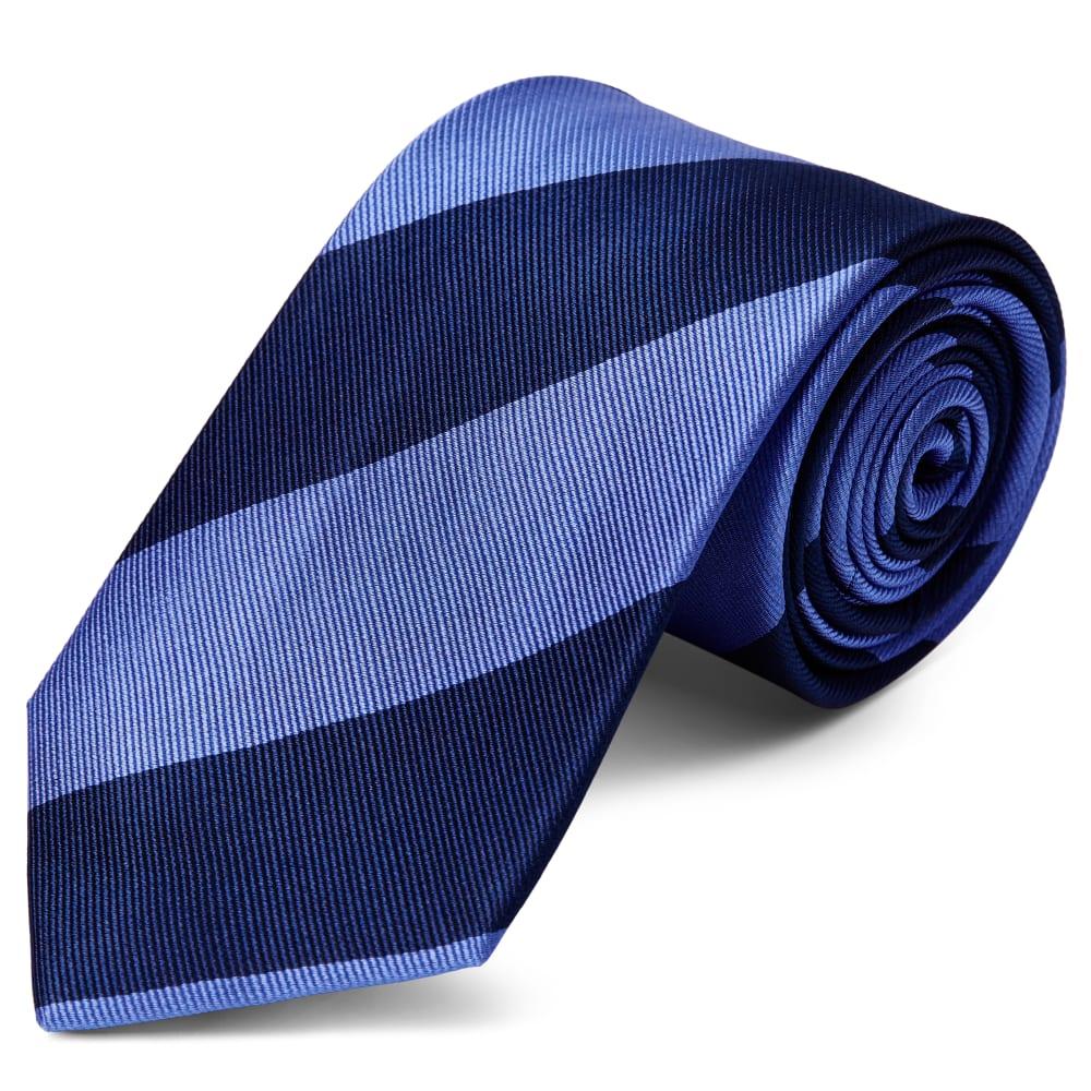 0261ff898ea79 Cravate en soie à rayures bleu marine et bleu pastel - 8 cm | Port ...