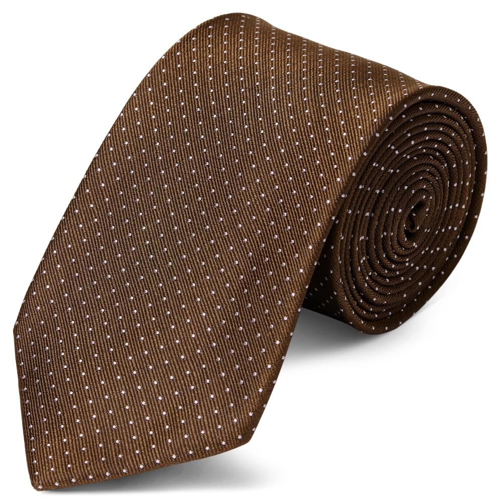 1922925a715ed Cravate en soie marron à pois blancs - 8 cm | Port gratuit | TND Basics