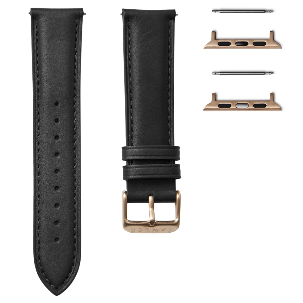 Black Leather Watch Strap With Rose Gold Tone Adapter For Apple Watch 38 40mm In Stock Trendhim
