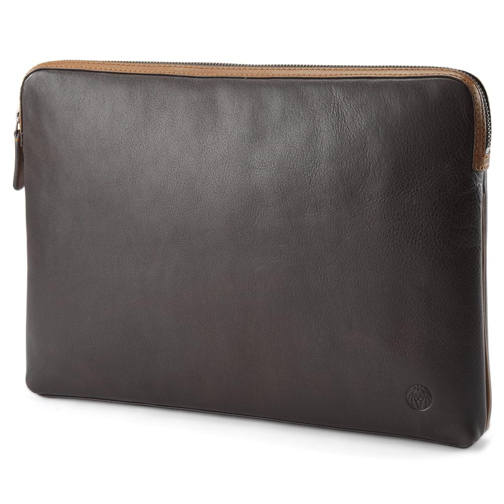 008801cb1 Kožené puzdro na laptop v tmavohnedej a bledohnedej farbe Lou ...