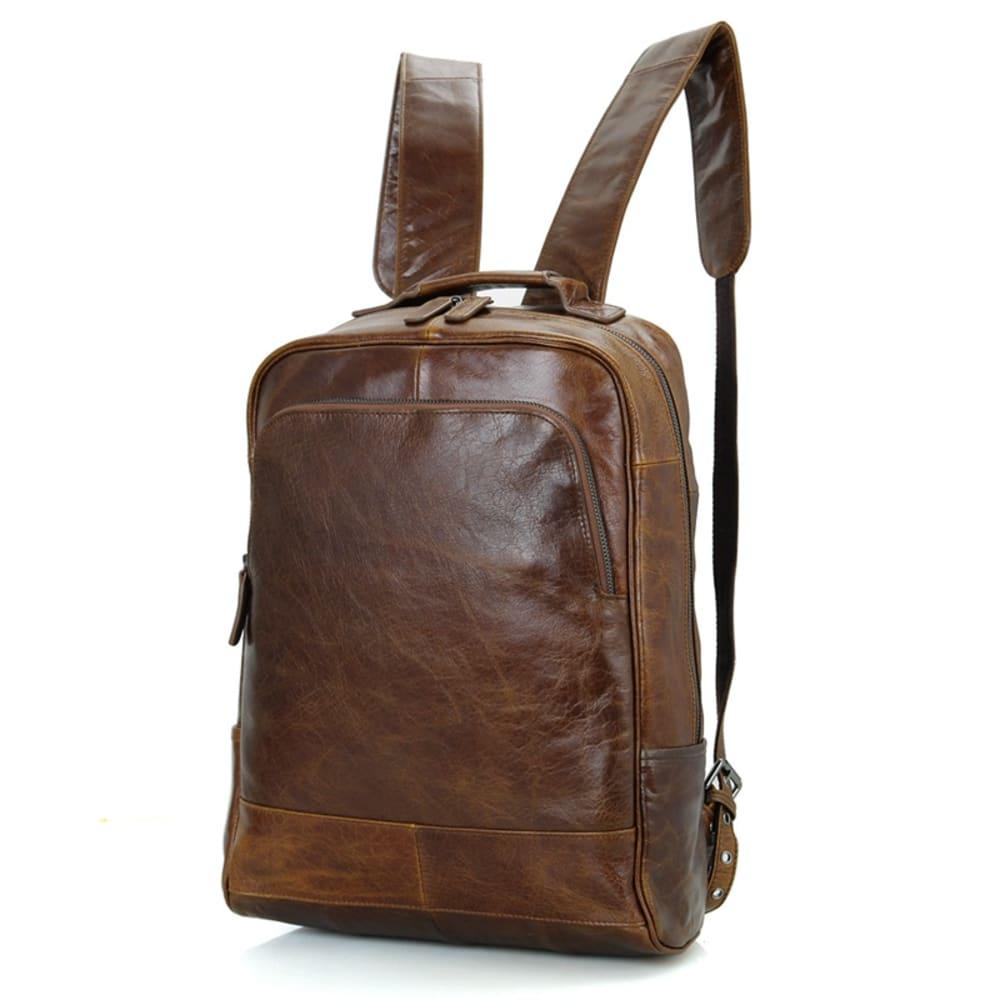 Vintage Cognac Ryggsäck i Skinn   Delton Bags   Fri frakt