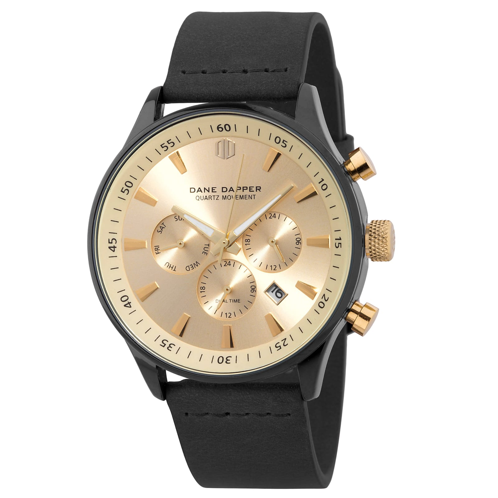 5ac5bf7f3 Čierne hodinky s ciferníkom v zlatej farbe Troika | Doručenie zdarma | Dane  Dapper
