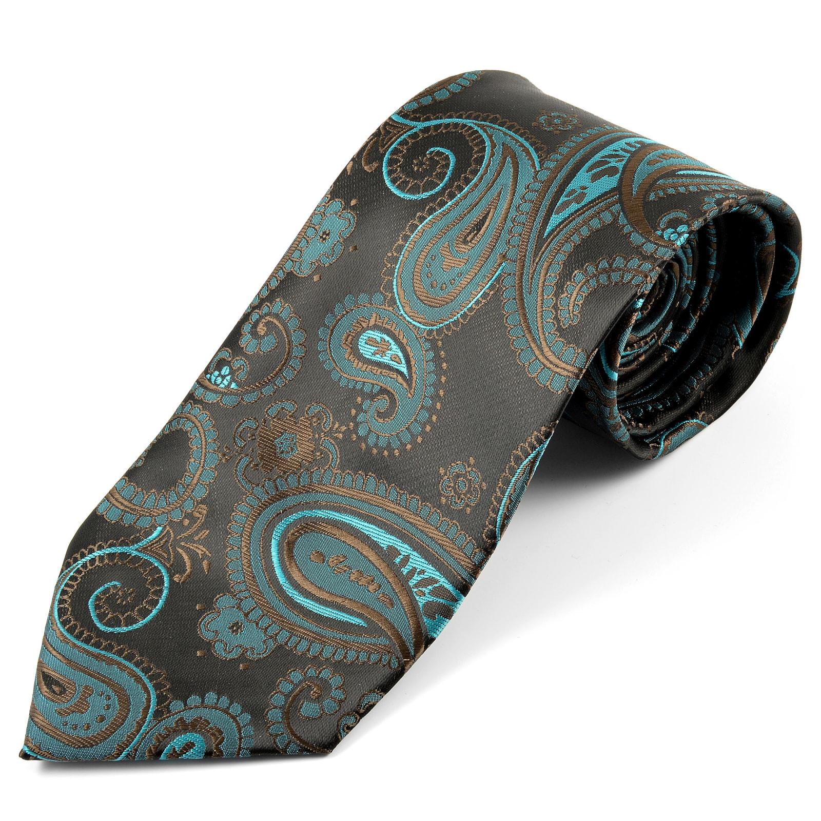 45fe8685ff8 Corbata ancha de seda con estampado de cachemir turquesa | ¡En stock! |  Tailor Toki